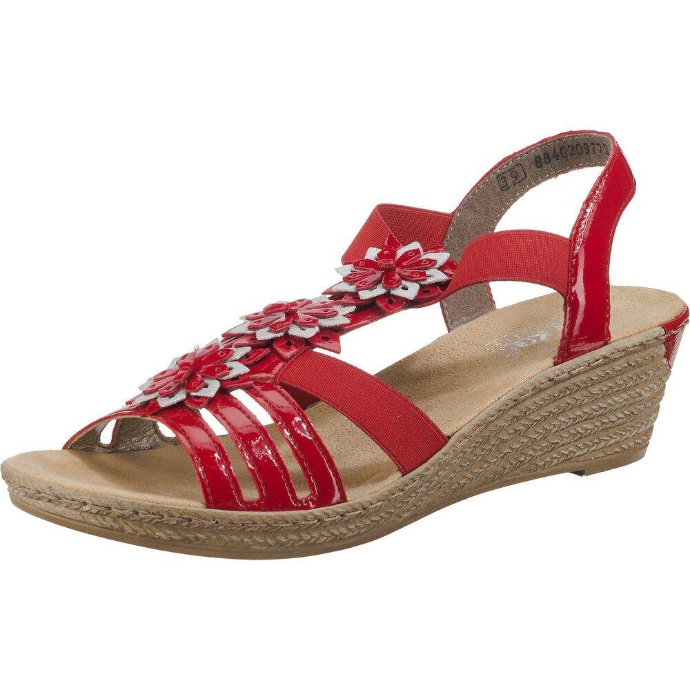 Rieker Sandaletten Damen Rot Grosse 38 Sandaletten Damen Sandaletten Und Keilsandaletten