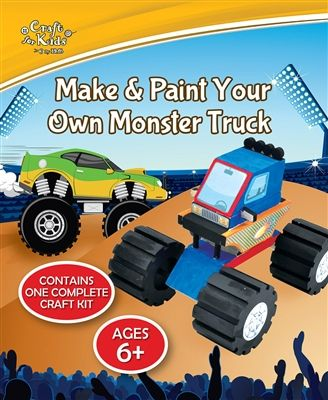 Craft for Kids by BMS presents Make and Paint Your Own Monster Truck - Item Code: 0680569520890.  Follow the detailed instructions to construct your own monster truck and then paint with your own design. For ages  6+
