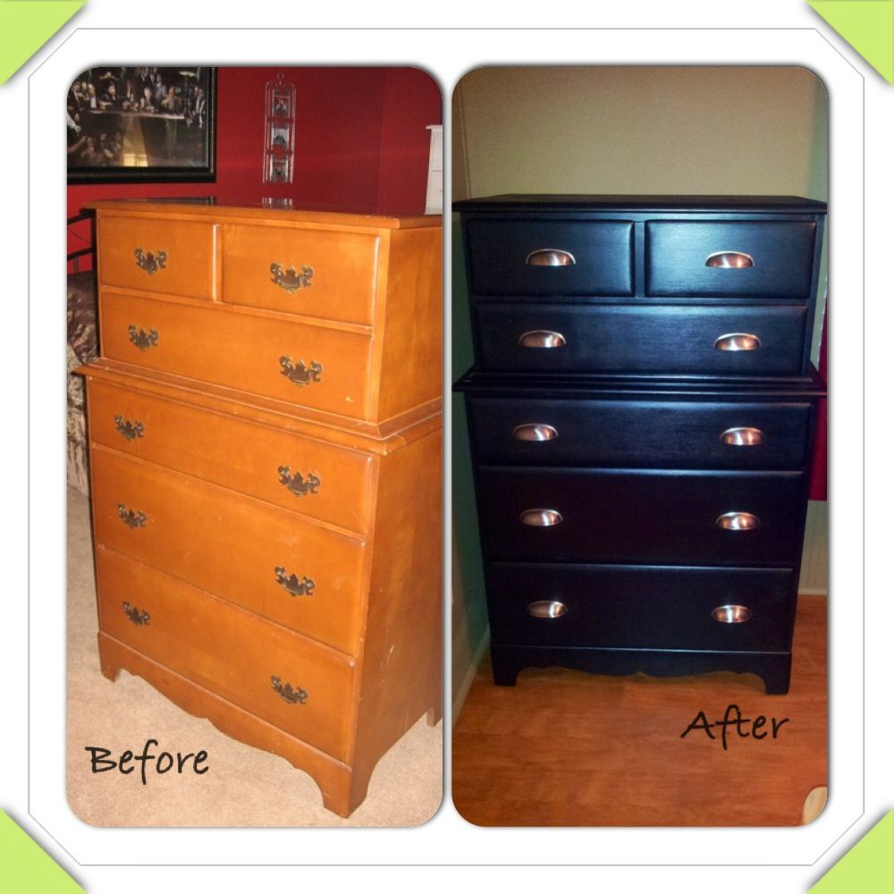 Painting furniture black before and after -