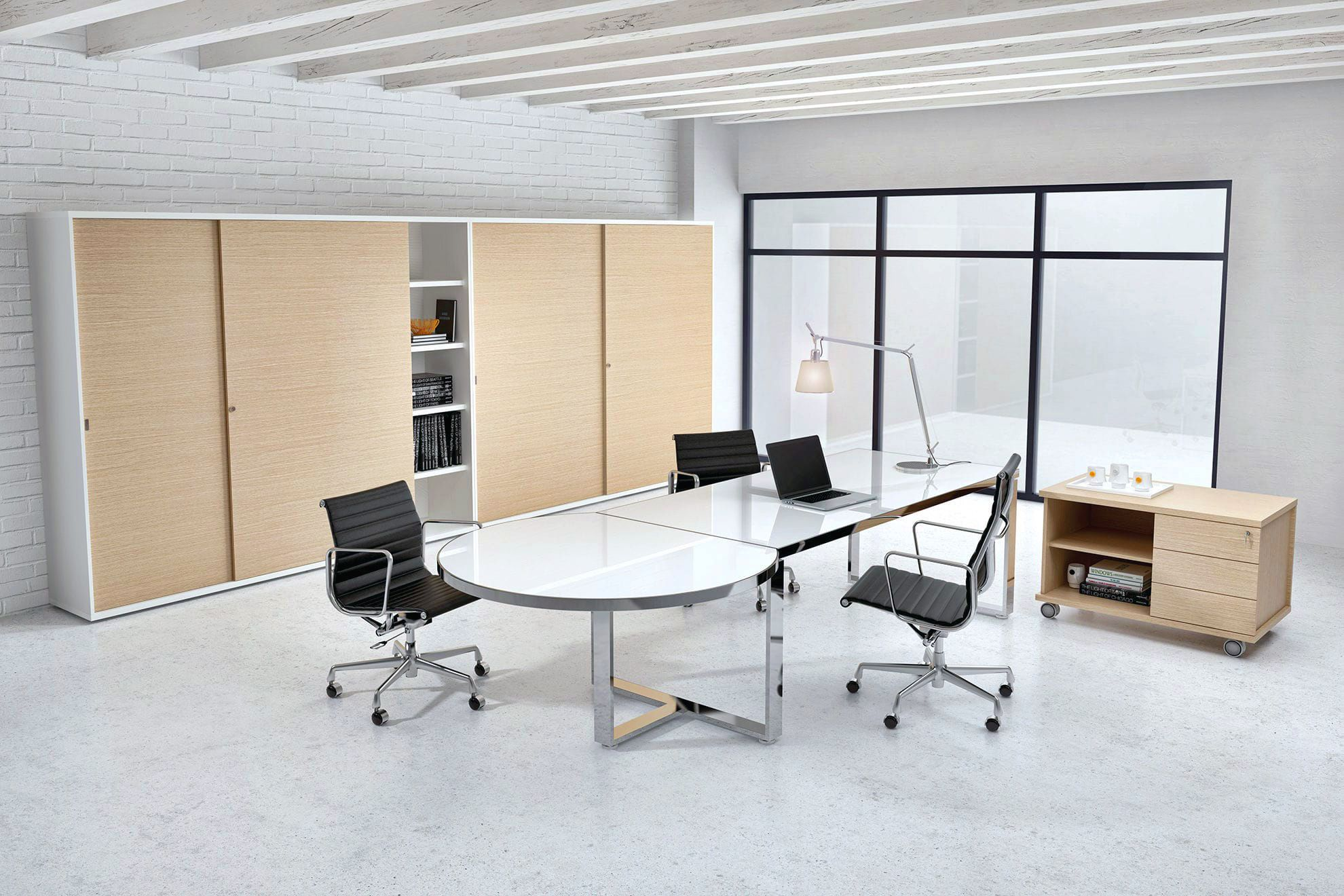 Chrome White Modern Glass Desk Shown With Matching Contemporary