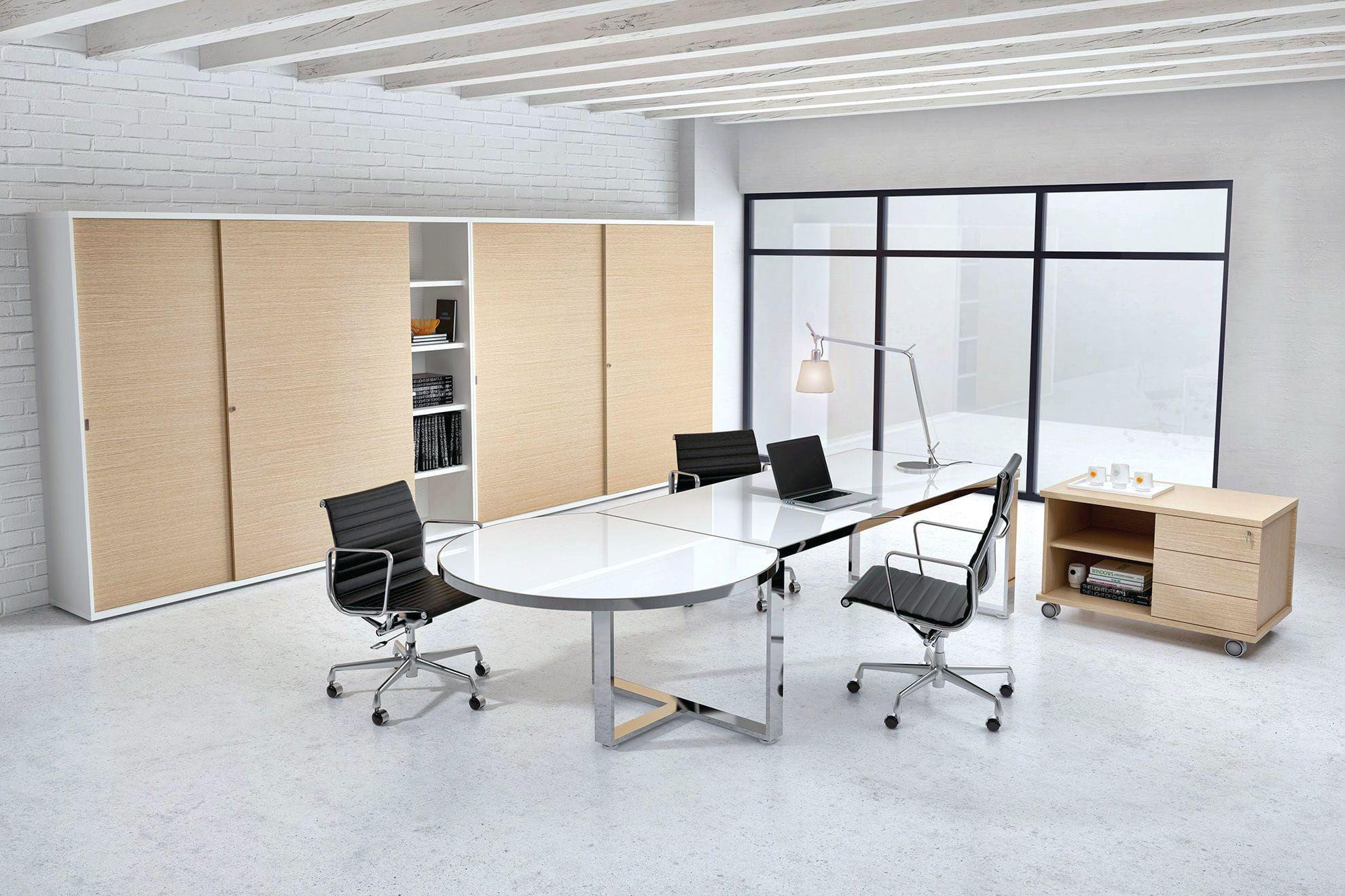 Chrome White Modern Glass Desk Shown With Matching Contemporary Storage Modern Glass Desk Glass Desk Contemporary Desk