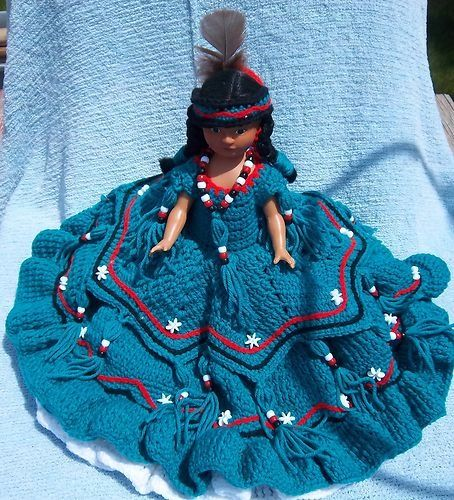Native+American+Doll+Crochet+Patterns | NATIVE AMERICAN DOLL WITH CROCHET DRESS AND PAPOOS 49.13 Free Shipping ... #indianbeddoll