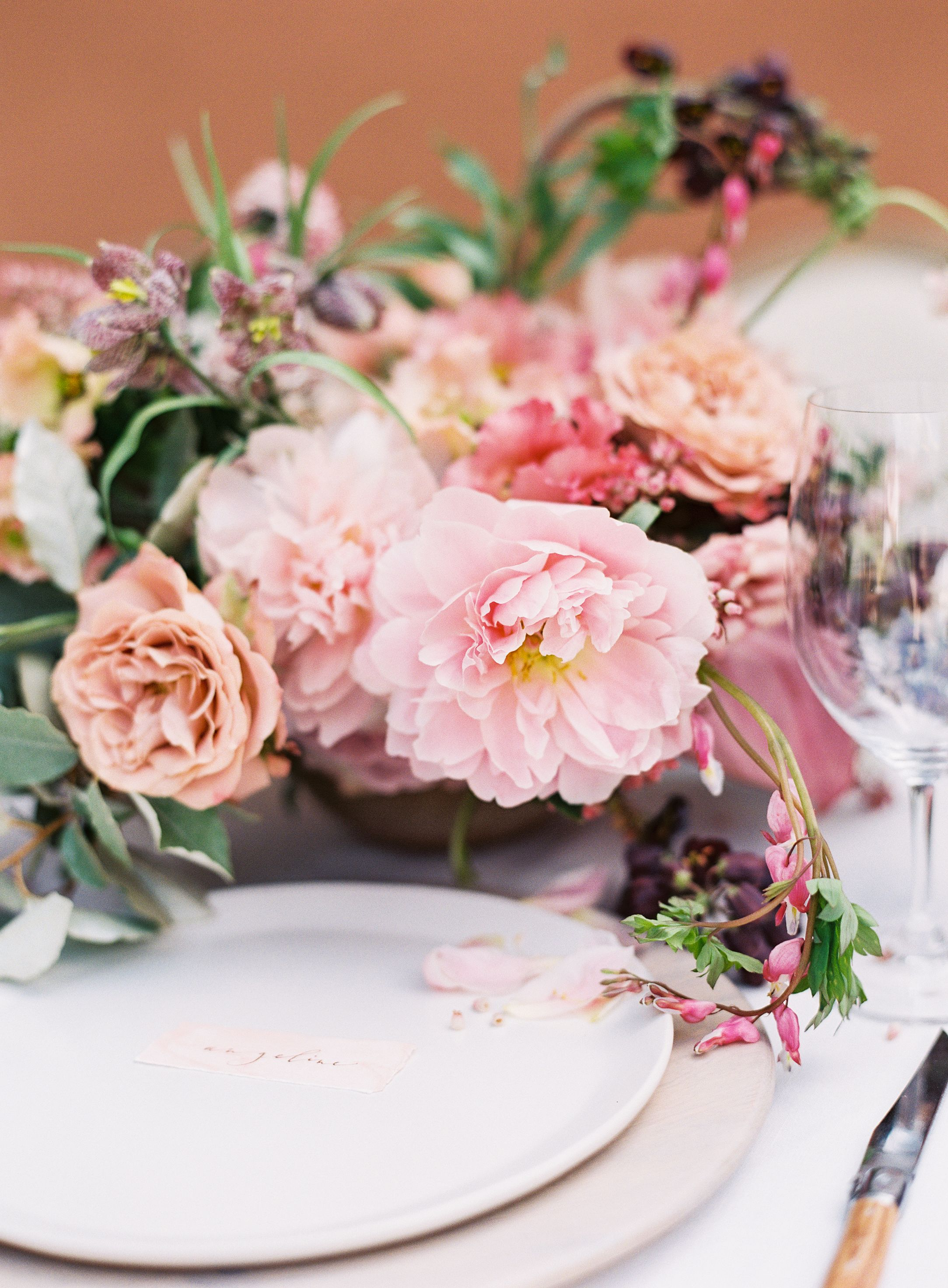 terracotta pink flowers and table setting   terracotta pink wedding ...