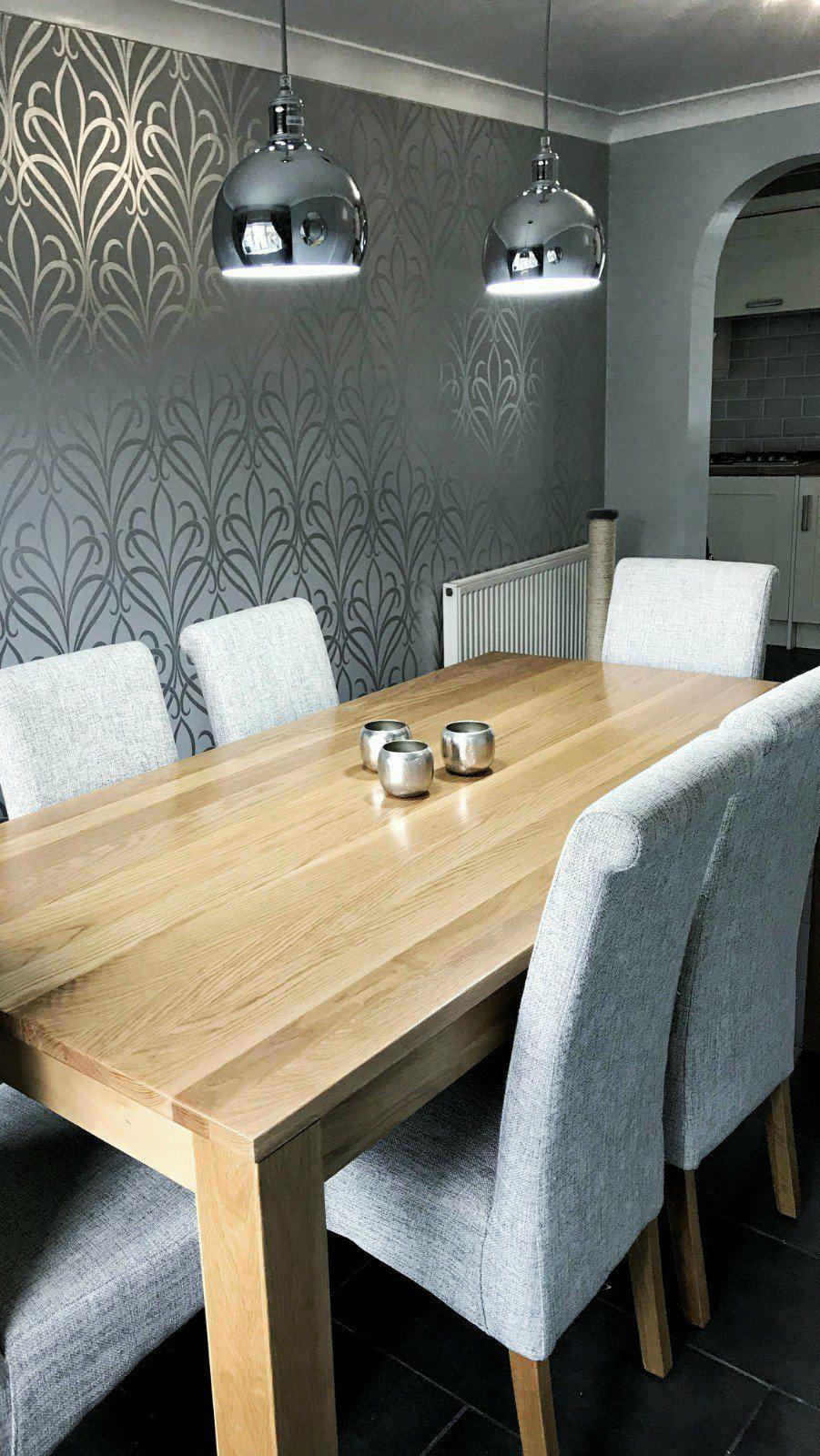 Camden Damask Wallpaper Soft Grey Silver Dining Room Feature Wall Dining Room Wallpaper Dinning Room Flooring