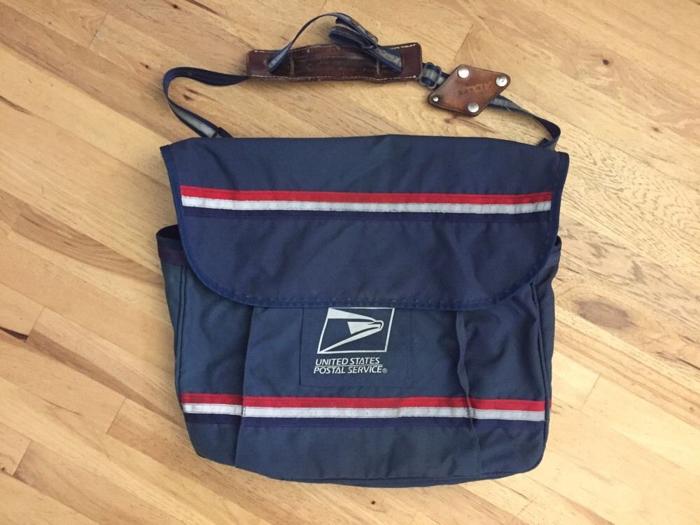 Vintage USPS Mail Carrier Bag Satchel With Leather Straps