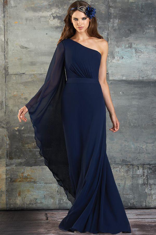 20 Navy Blue Cocktail Bridesmaid Dresses | Sleeved dress, Shoulder ...
