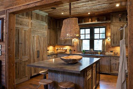 Barnwood Kitchen By The Cabinet Company Log Homes