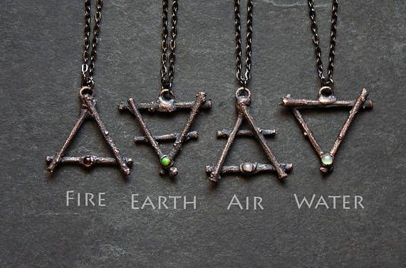 Earth Necklace Natural Element Pendant Alchemy Elements. Alchemy Symbol Necklace Water Element Symbol Necklace Alchemy Gothic