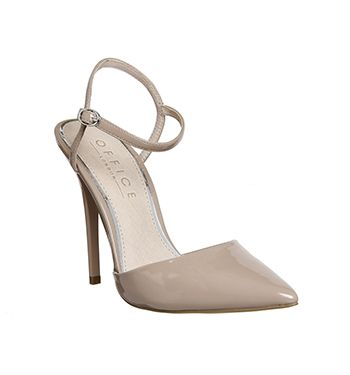 487b9dfbe7a28 Office Archway Open Back Point Court Nude Patent - High Heels ...