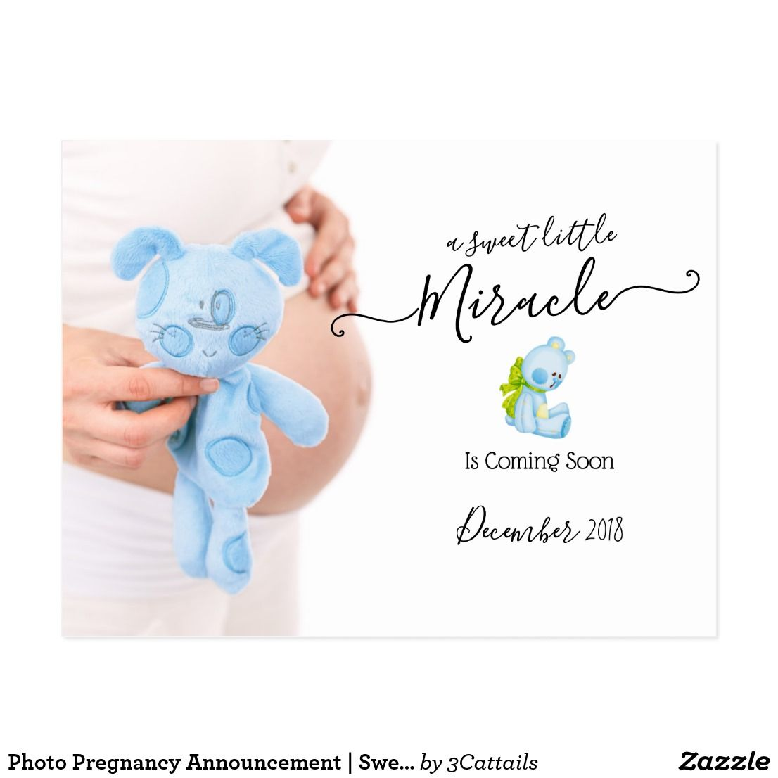 Photo Pregnancy Announcement  Sweet Miracle Postcard