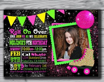 Items similar to Roller Skate Invitation, Roller Skate Birthday Invitation, Roller Skating Birthday Party Printable Invite on Etsy