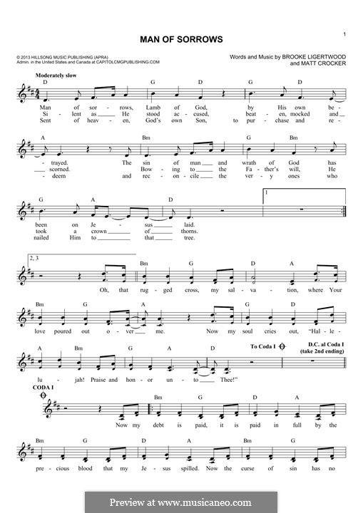 Man Of Sorrows Hillsong Live By B Ligertwood M Crocker On Musicaneo Hillsong Sorrow Piano Sheet Music