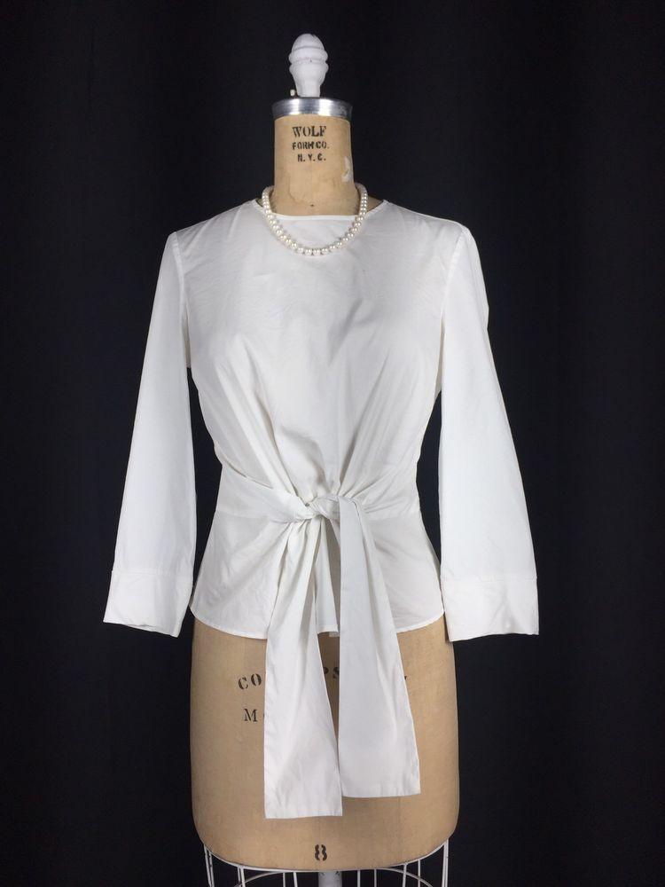 68097138cd9462 ZARA White Cotton Stretch Blouse Tie Front Waist 3/4 Sleeve Modest Shirt  Small #Zara #Blouse #CareerCasual