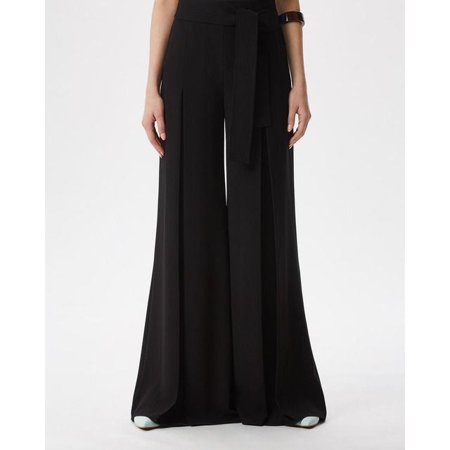 Photo of Black palazzo pants with central pleat in black