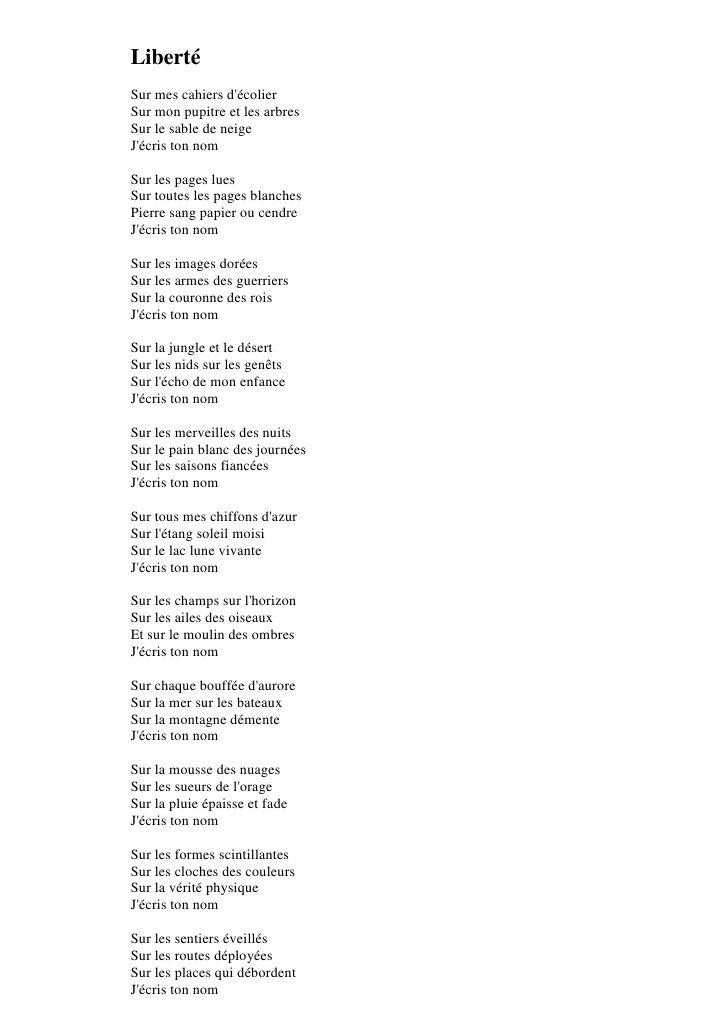 Liberte Un Poème De Paul Eluard Poeme Francais Poeme Et