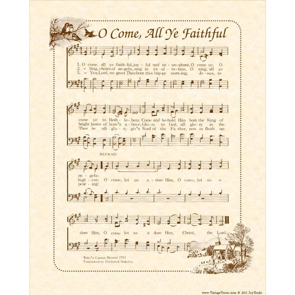 O Come All Ye Faithful - Custom Christian Home Decor - Christmas Carol Wall Art- Holiday Wall ...