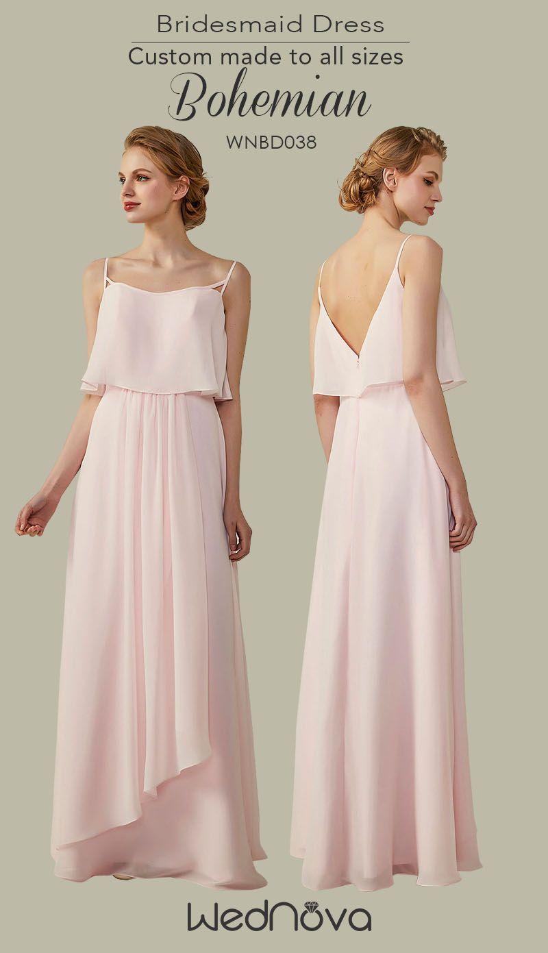 Vback light pink bridemaid dress with chiffon affordable bridesmaid