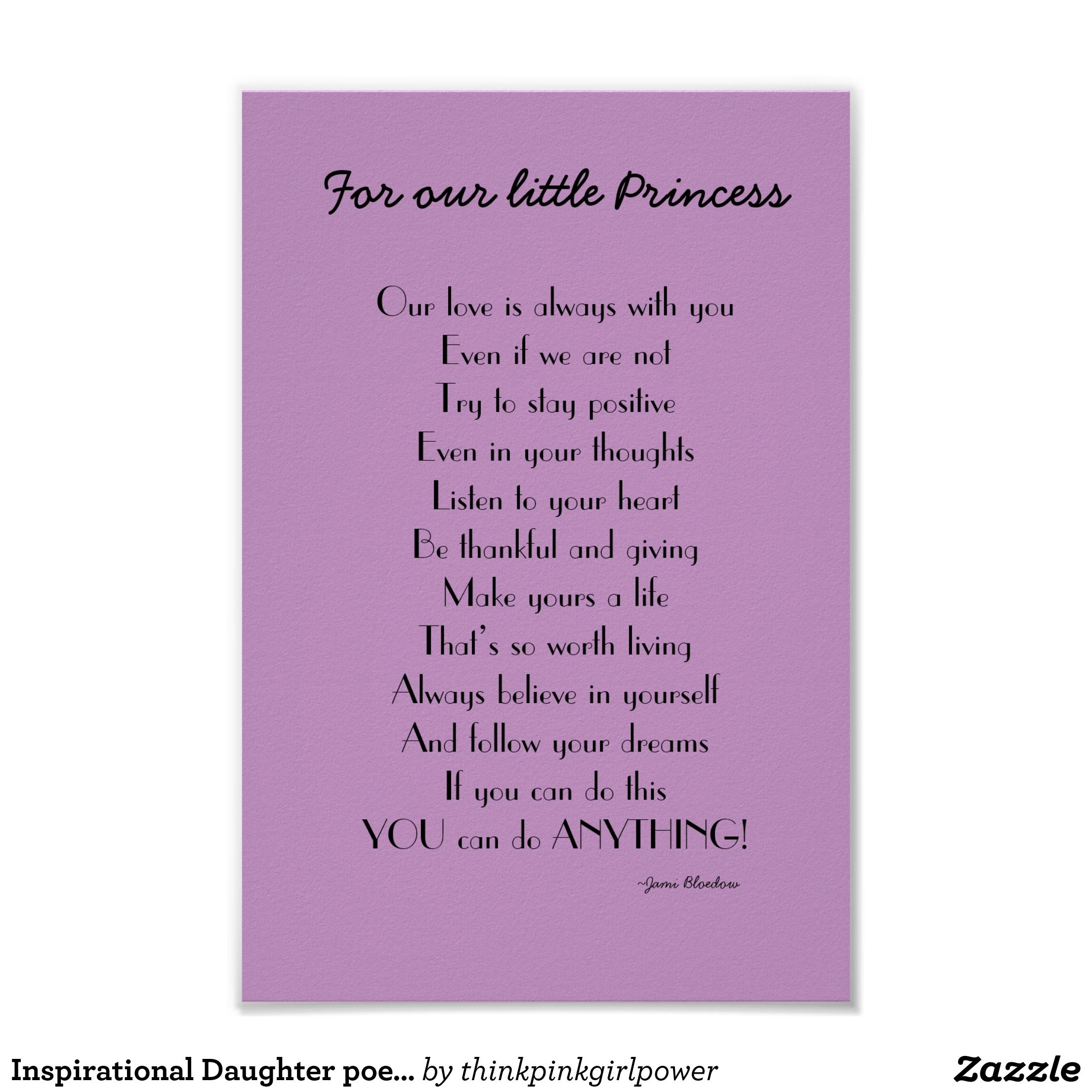 Inspirational Daughter Poem From Parents Poster Graduation