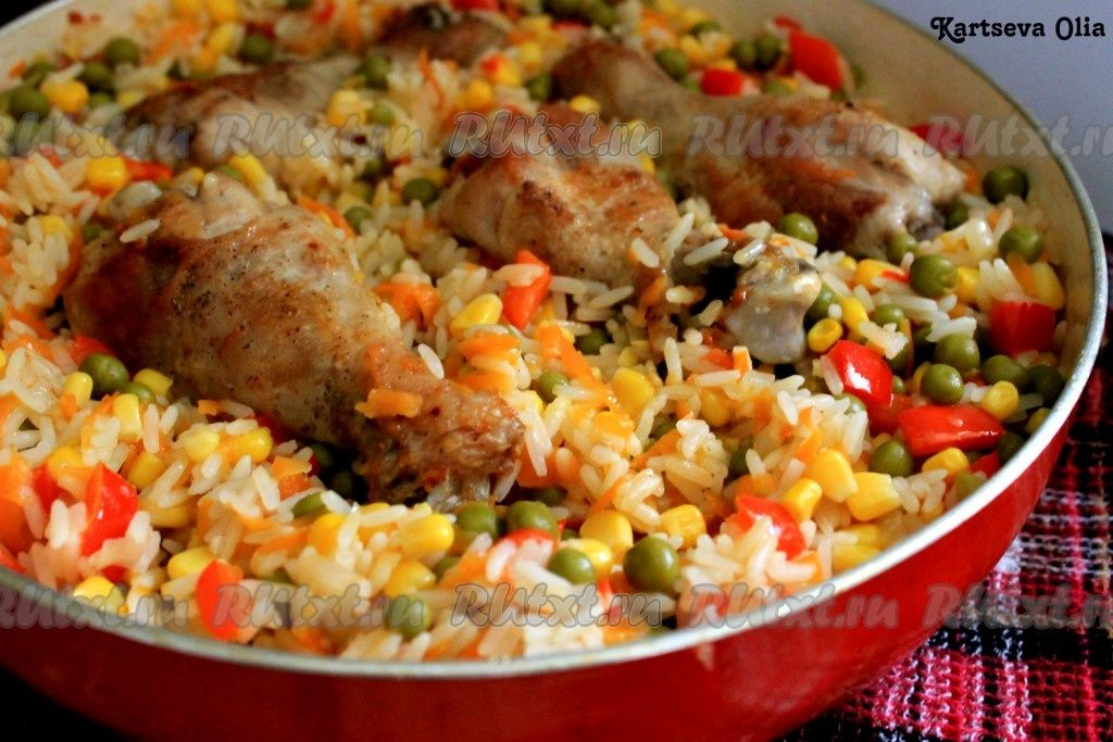 жареная курица с овощами на сковороде рецепт с фото