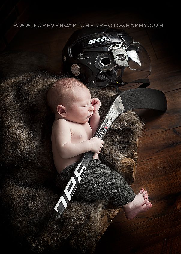 Newborn photography in calgary forever captured photography hockey baby super cute for a future babe