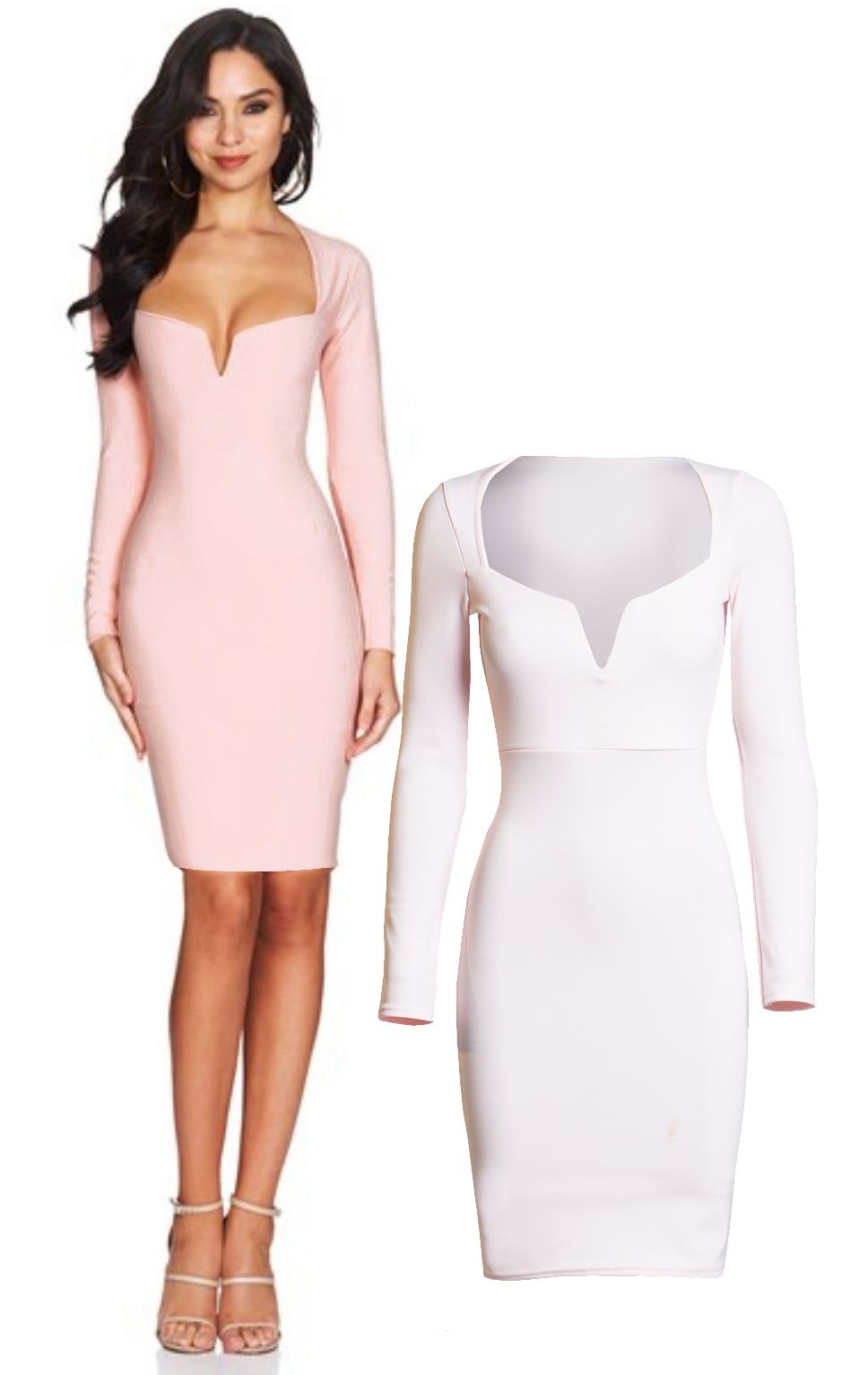 Pale Pink celeb inspired plunge neck long sleeved body con dress ...