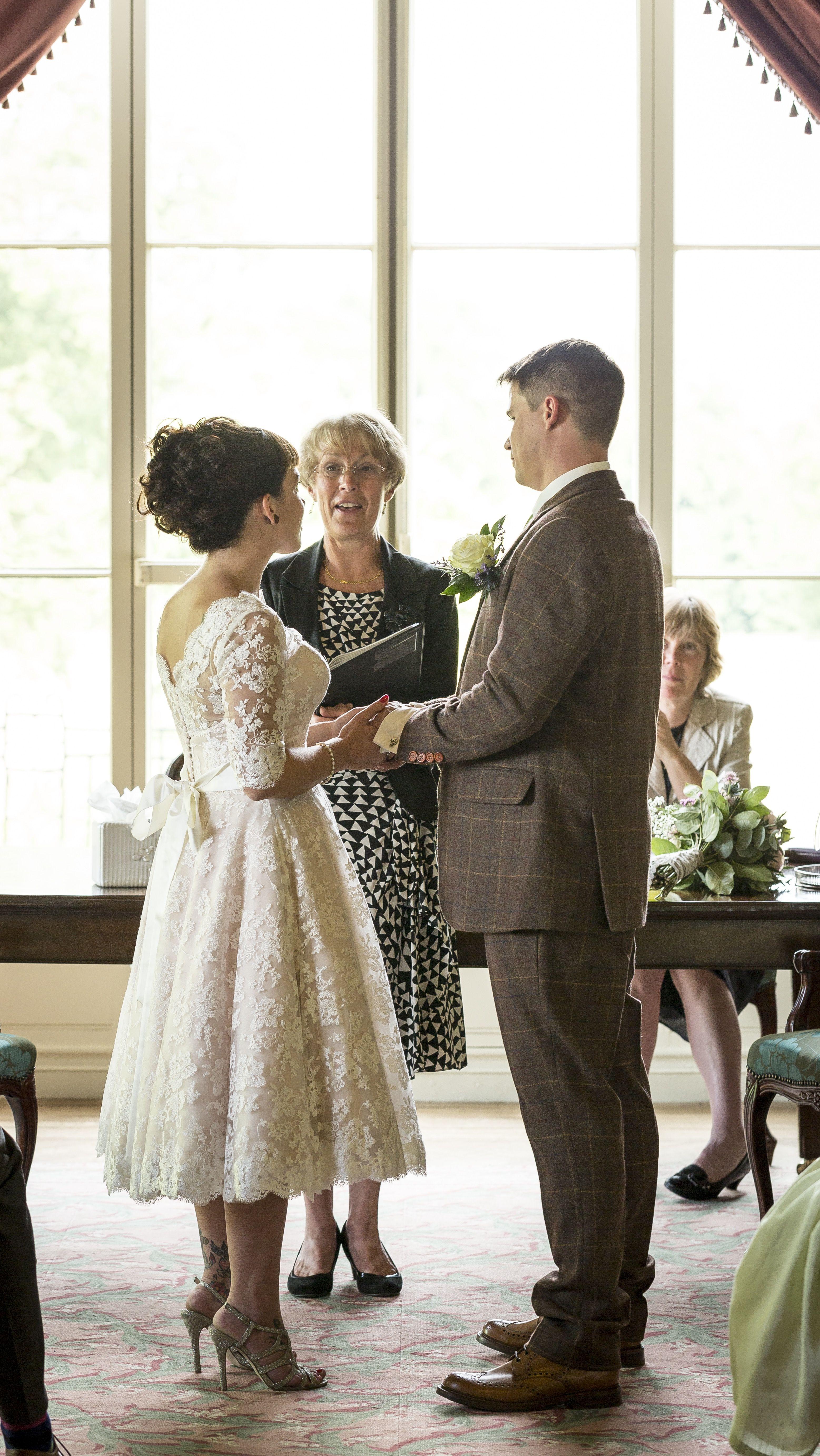 Real bride naomi in her mooshki sarah lace tea length wedding