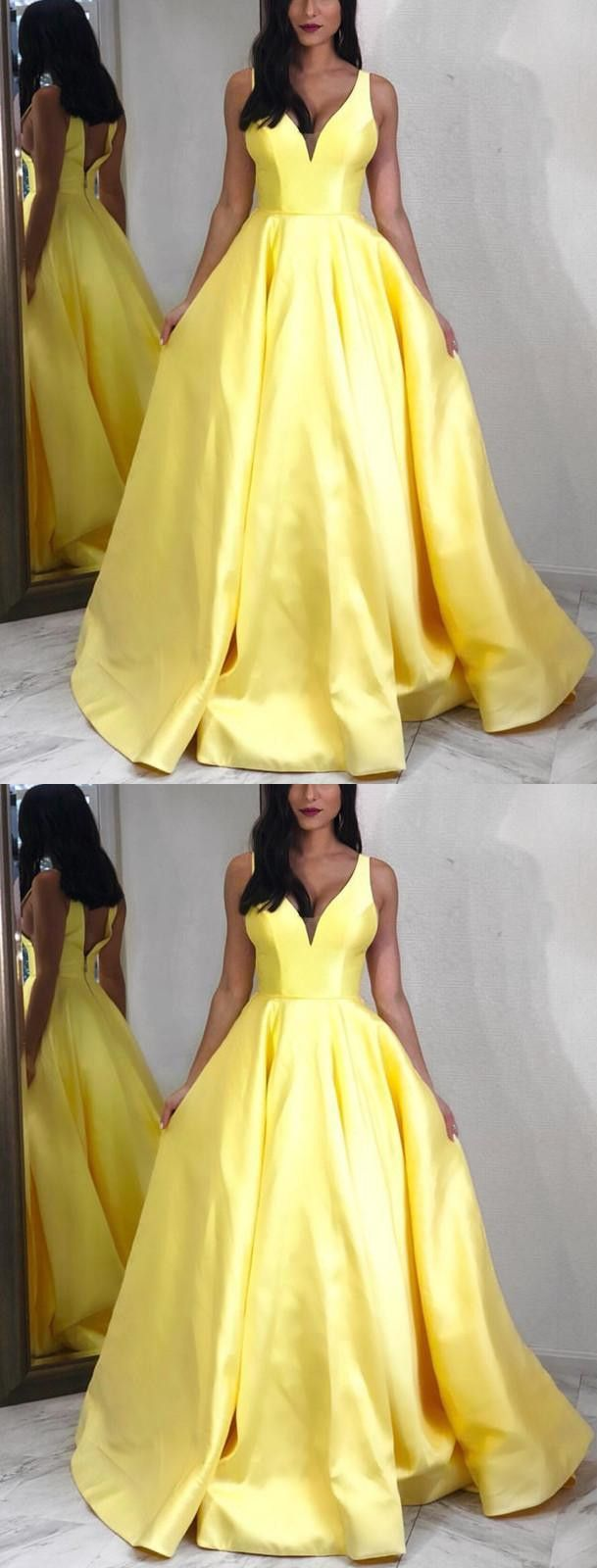 cbd948353ab Yellow Satin V-neck Floor Length Prom Dresses 2019 Long in 2019 ...