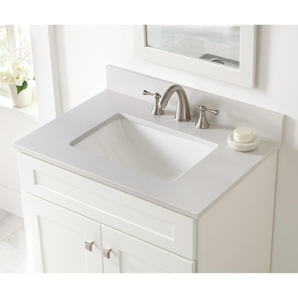 Home Decorators Collection 31 In W X 22 In D Engineered Marble Vanity Top In Snowstorm With White Single Trough Sink 312 Marble Vanity Tops Vanity Top Vanity