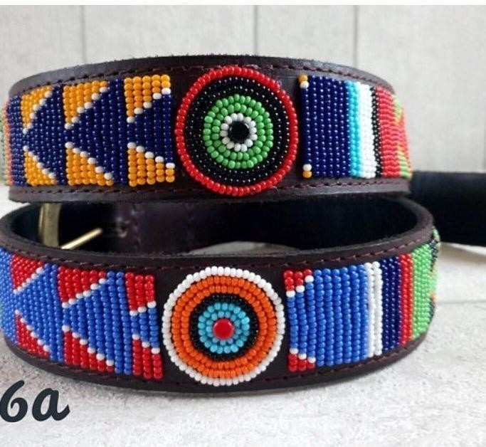 Multi color leather beaded belt – Belts multicolour, none, casual, zulu, maasai and pearls, maasaï, mixed print, for him, beads, leather, activewear