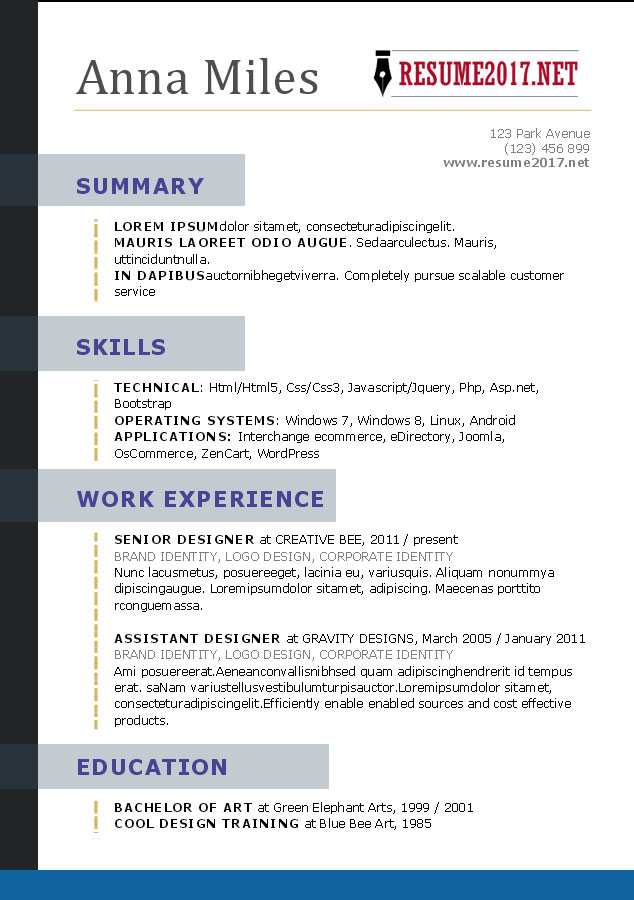 what does a resume layout look like