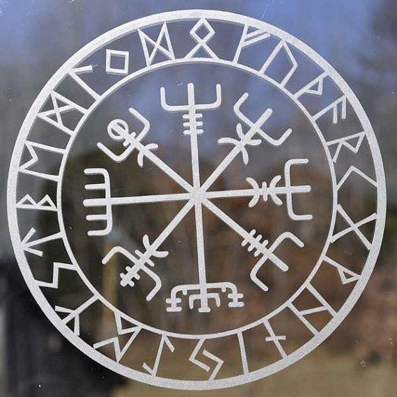 Viking Protection Runes Vegvisir Compass Talisman Etched Glass Vinyl