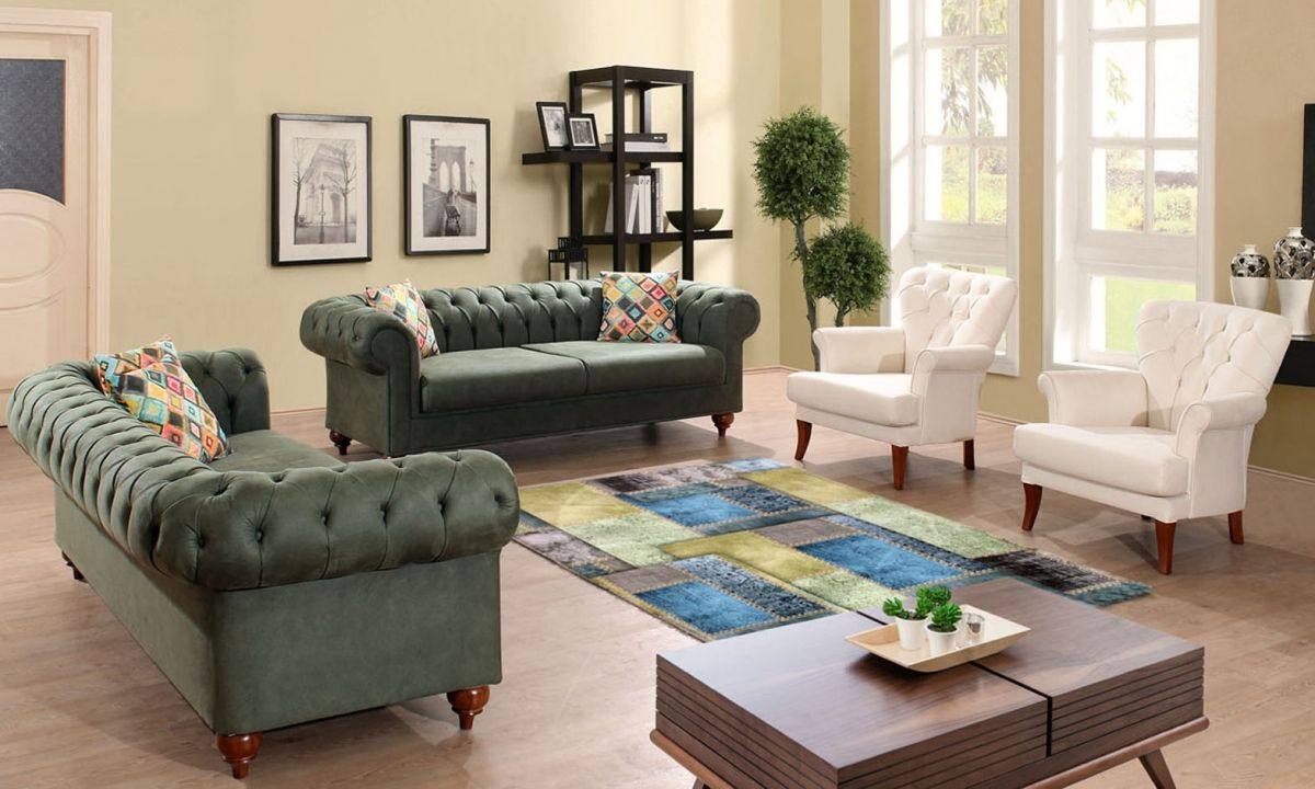 Ornella Chester Salon Takimi Yesil Beyaz Oturma Odasi Takimlari Oturma Odasi Dekorasyonu Mobilya