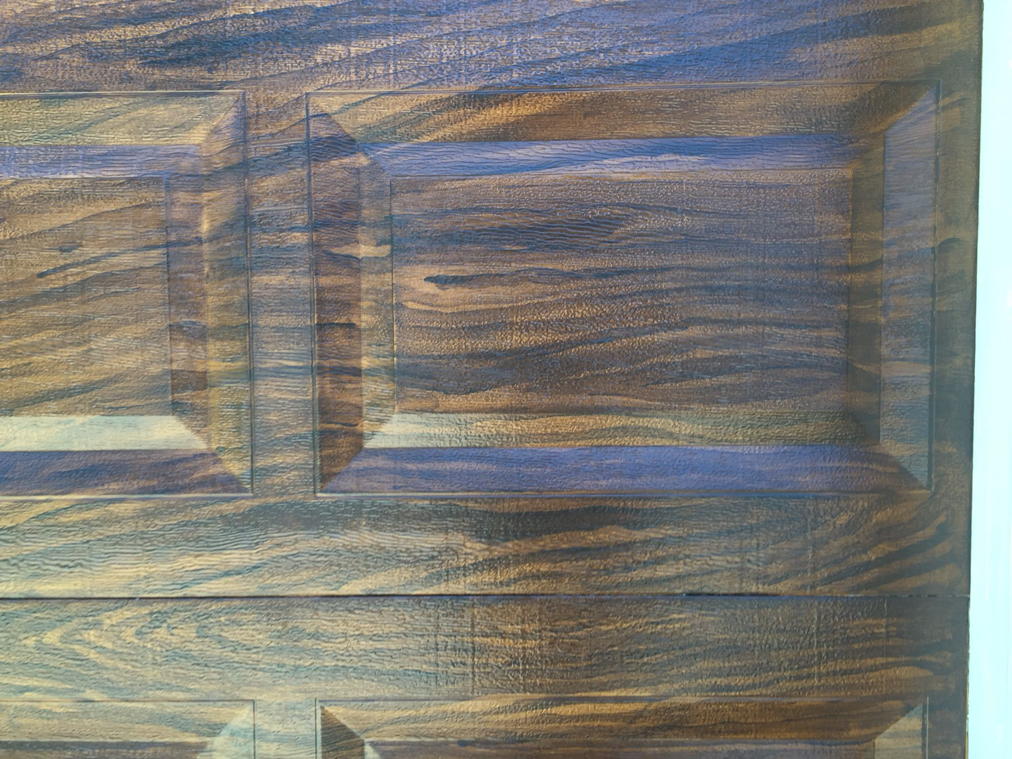 Close Up Of Painted Aluminum Garage Door Made To Look Like Stained