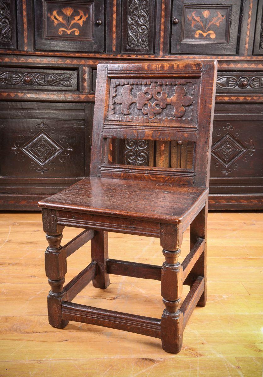 Charles I oak Child's chair, Marhamchurch antiques