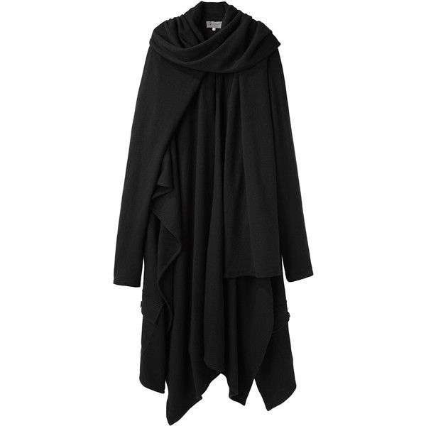 Yohji Yamamoto Sleeved Mantle ($660) ❤ liked on Polyvore featuring outerwear, coats, jackets, tops, dresses, long coat, yohji yamamoto, long drape coat, cloak coat and yohji yamamoto coat