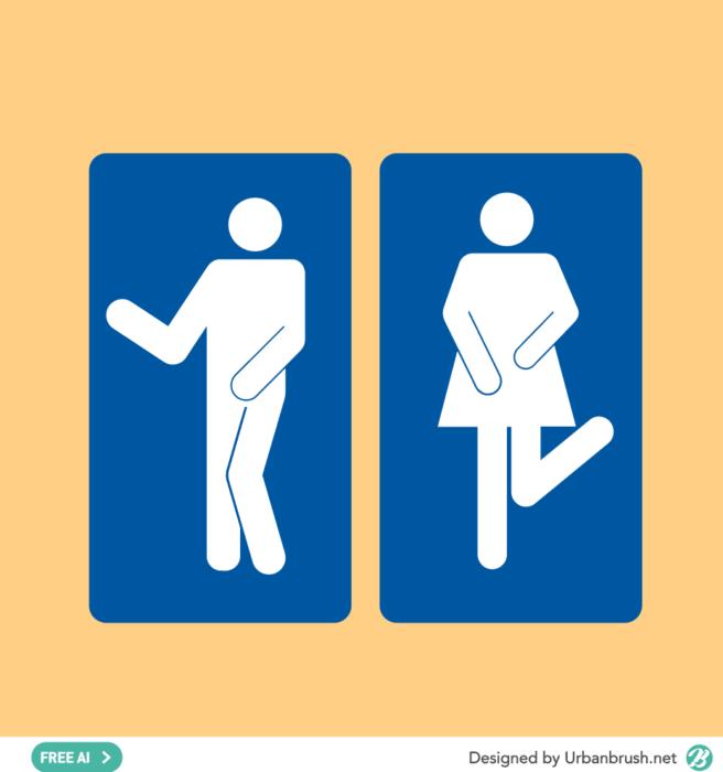 귀여운 동물 그리기에 있는 민수기 신님의 핀 귀여운 동물 그리기 남자 화장실 화장실 표지판
