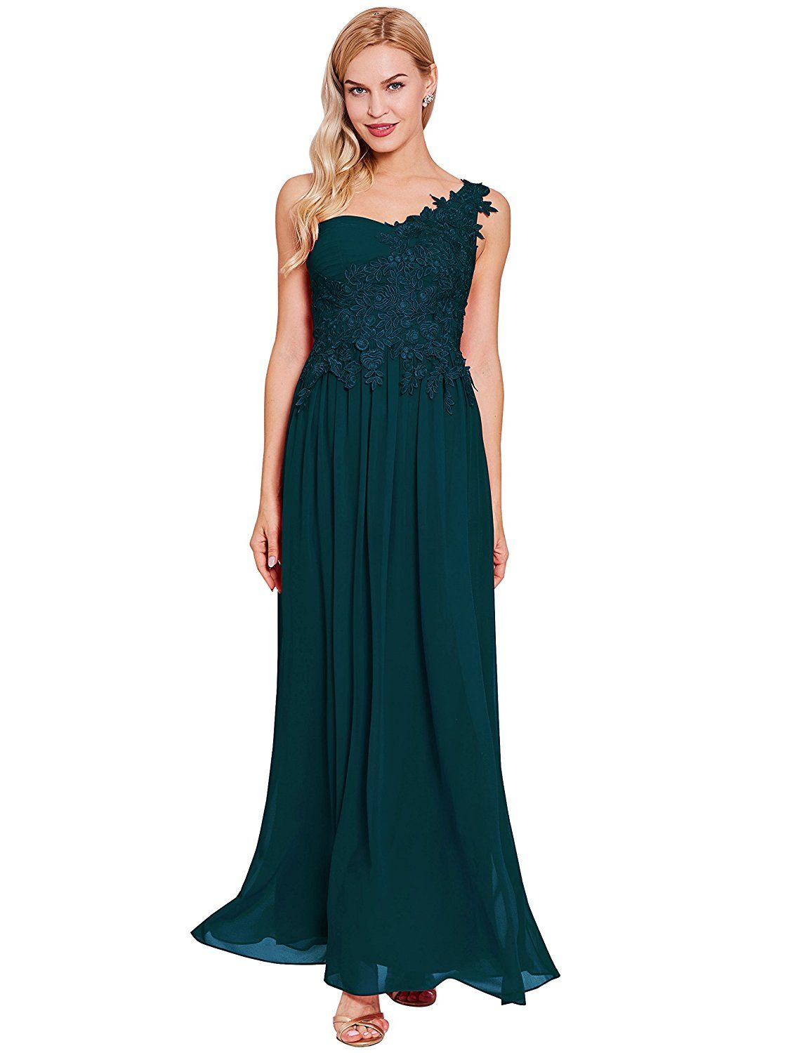 Tanpell Women S Appliques One Shoulder A Line Evening Prom Dress At