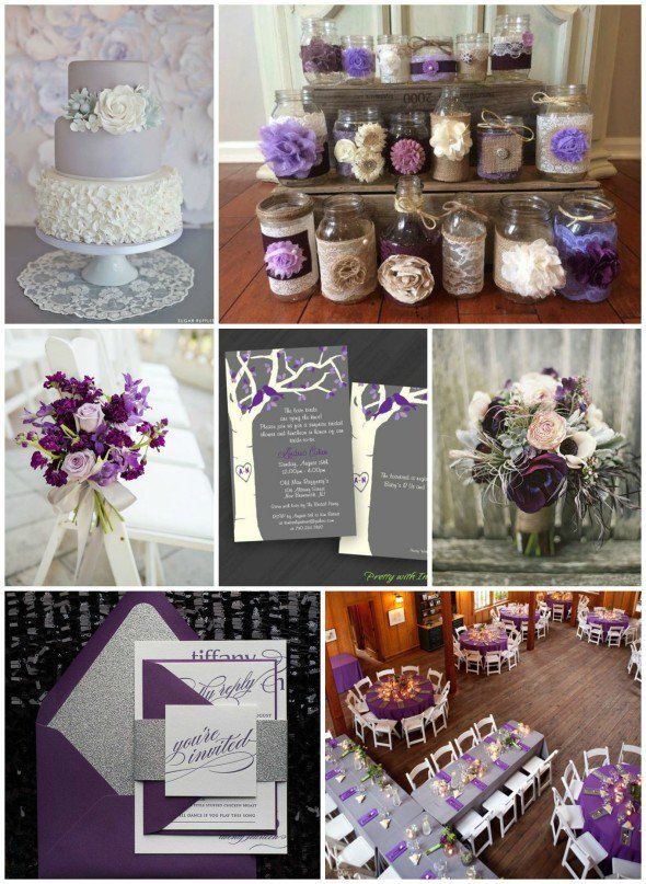 Purple Gray Wedding Ideas Grey Purple Wedding Rustic Purple