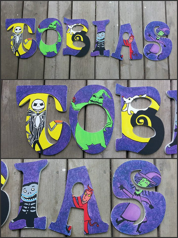 nightmare before christmas inspired wooden by danicabowtique