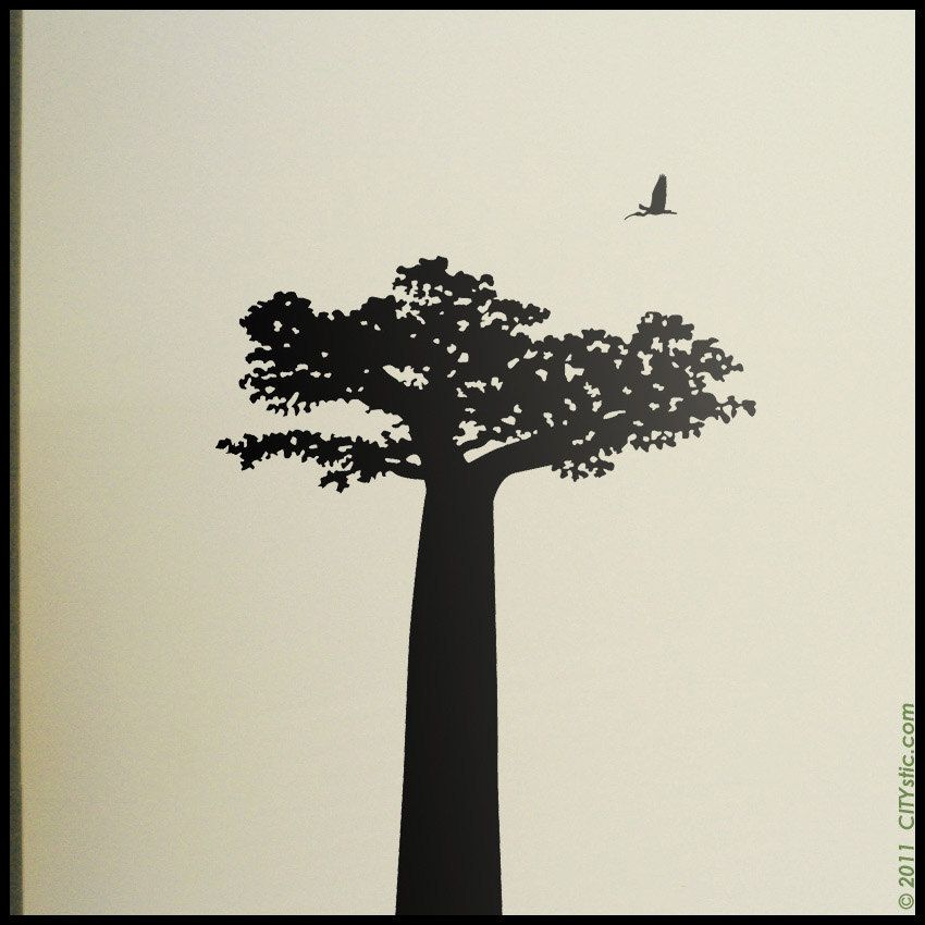 Baobab tree from Madagascar with birds decal, lemur decal ...