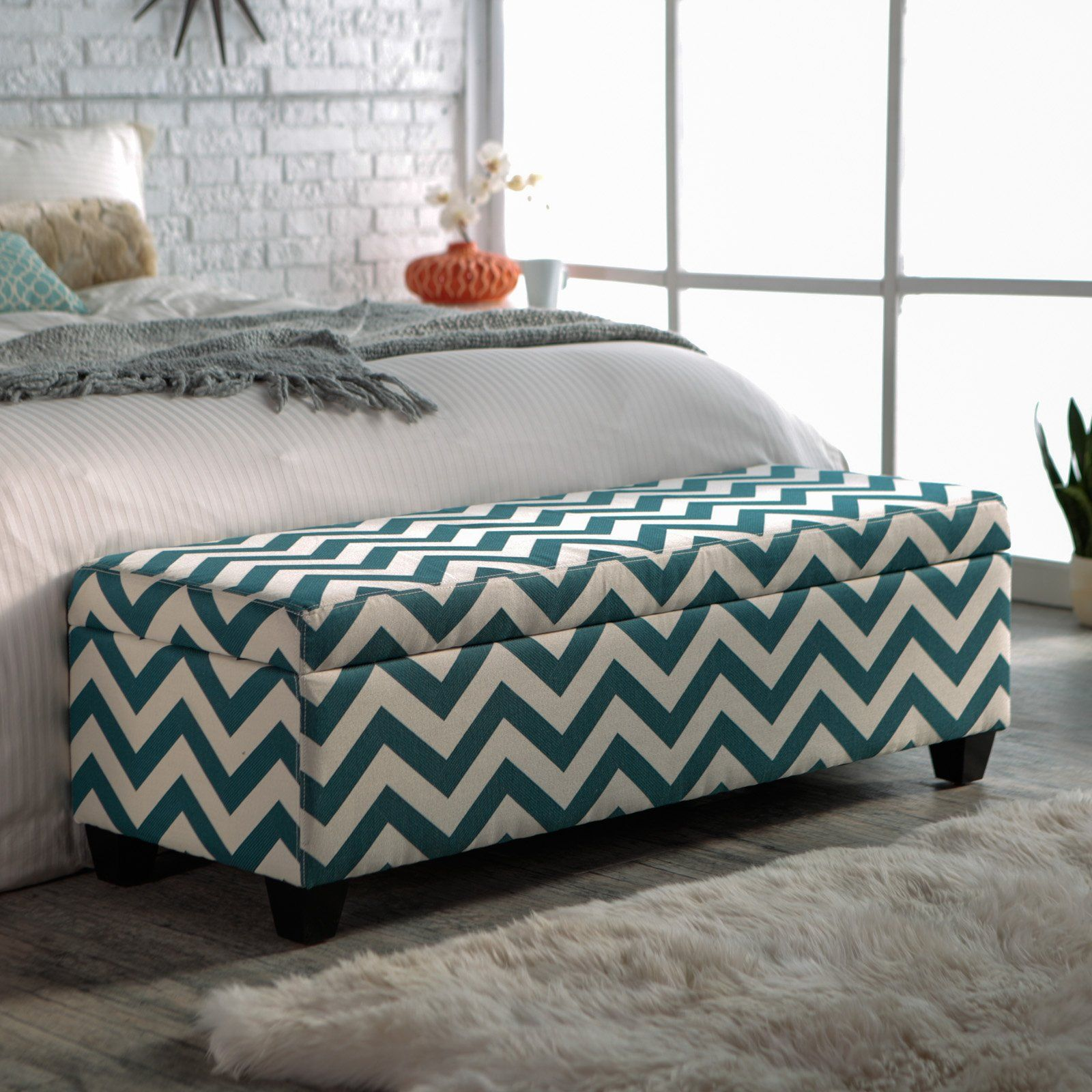 Pretty seating and storage for shoes? Ottoman - Blue Chevron ...