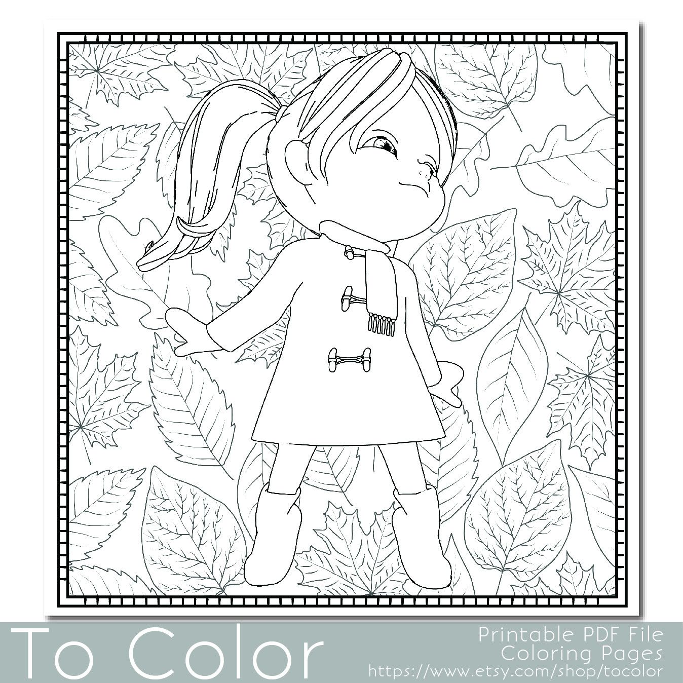This little girl is stood against a background of autumn leaves and ...