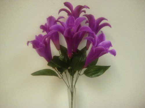 2 bushes purple easter lily artificial silk flowers 1 x 7 bouquets 2 bushes purple easter lily artificial silk flowers 1 x 7 bouquets 1829 pu phoenix mightylinksfo