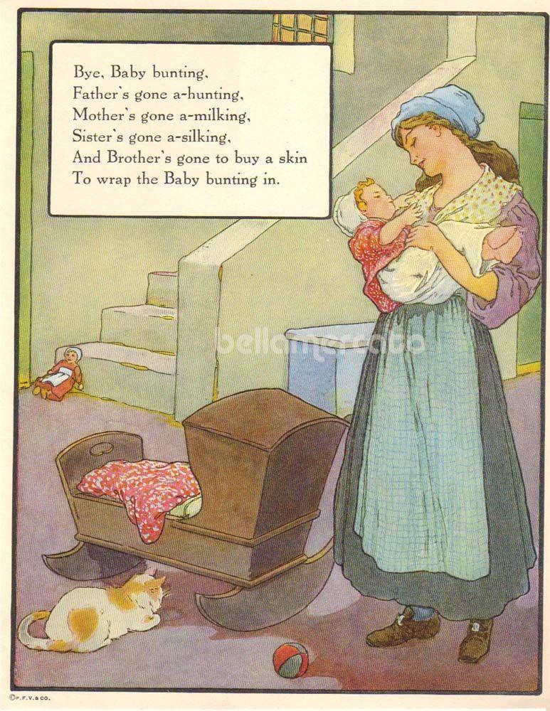 1920s Mother Goose Bye Baby Bunting Print Illustration by Frederick Richardson Vintage Book Art