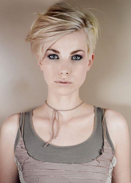Frau blond kurze haare