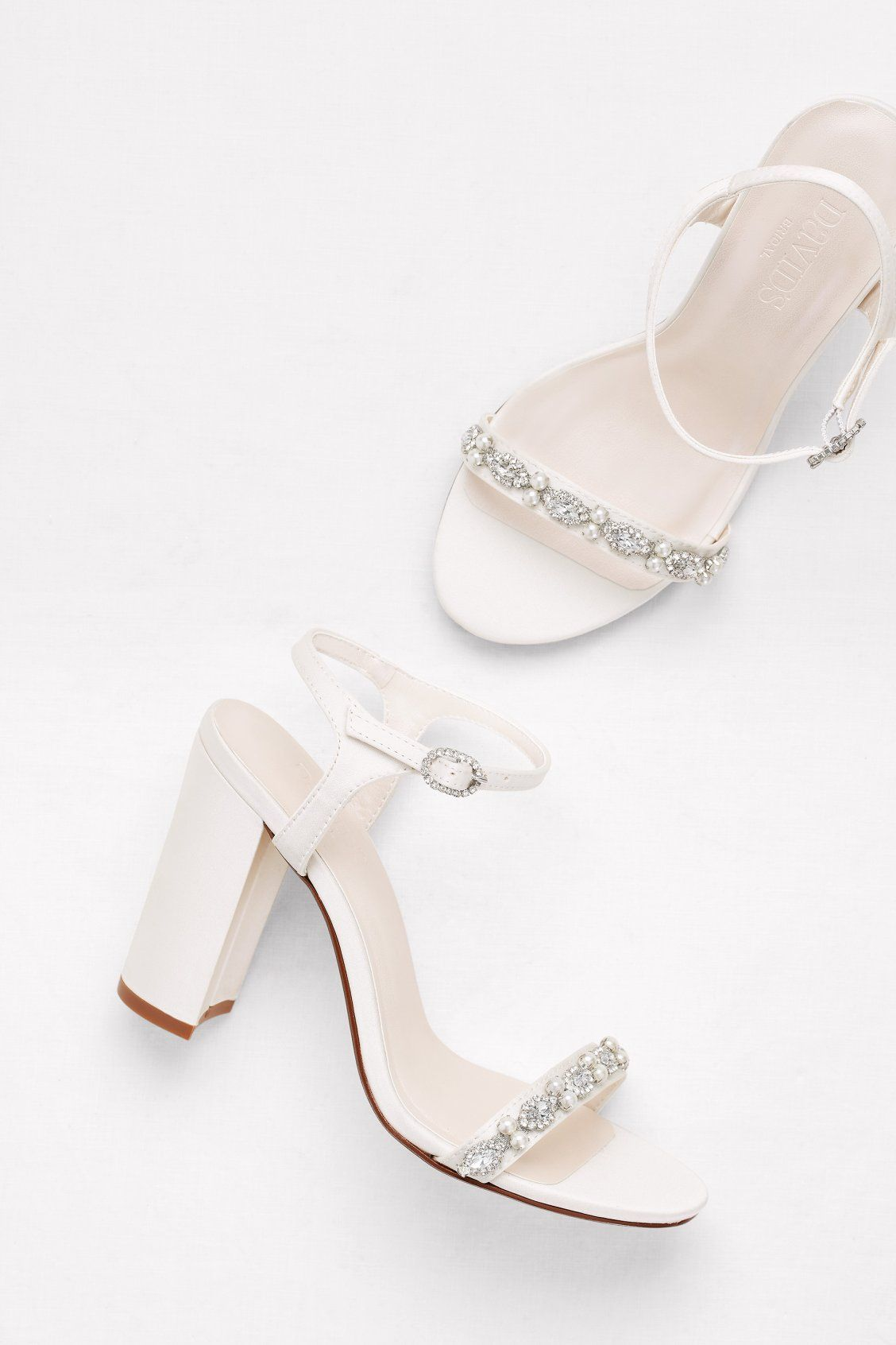 Embellished Satin Block Heel Sandals David S Bridal Satin Wedding Shoes Bridal Shoes Bride Shoes
