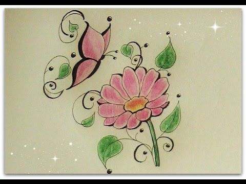how to draw flower with butterfly - daisy flower for beginners