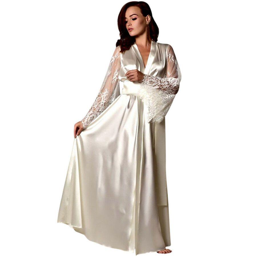 a6955c346b9 Women Satin Long Nightdress Silk Solid Lace Lingerie Nightgown Sleepwear  Robes Nightdress Silk Long