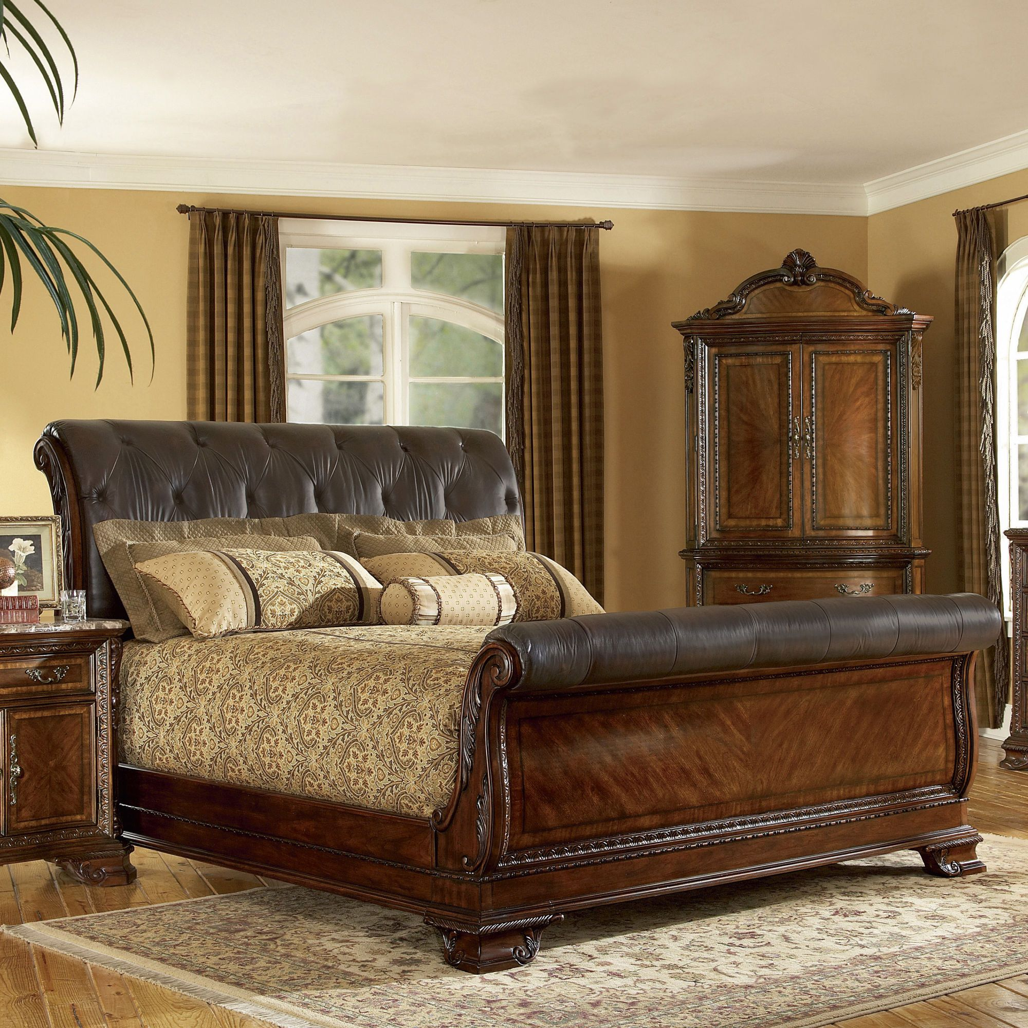 A.R.T. Old World Leather Sleigh Bed Wayfair For the
