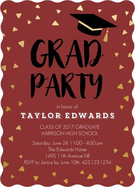 maroon and gold graduation party invitation from purpletrail